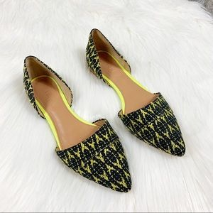 NEW J. Crew Neon Tribal Pointed Toe Flats